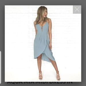 Dusty blue midi dress